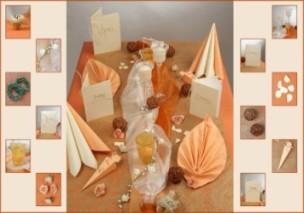 Tischdekoration in apricot zur goldenen hochzeit tafeldeko - Tischdekoration goldene hochzeit ...