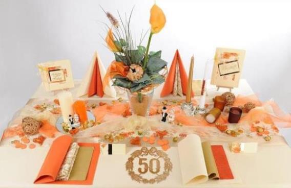 Goldene Hochzeit – und der Tisch strahlt in wunderschönen Farben ...