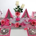 Tischdeko zur Hochzeit in Pink