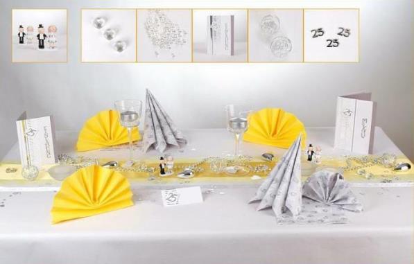 silberhochzeit und die tischdeko ein traum in silber und gelb tafeldeko. Black Bedroom Furniture Sets. Home Design Ideas