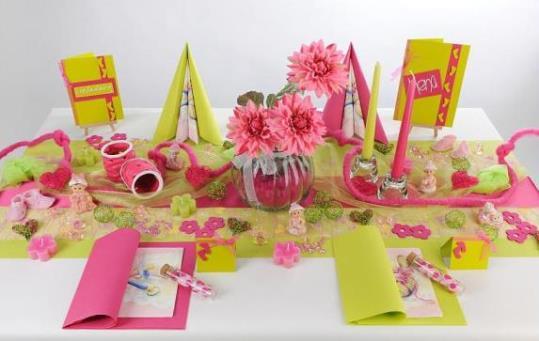 Tischdeko Taufe Pink, Kiwi