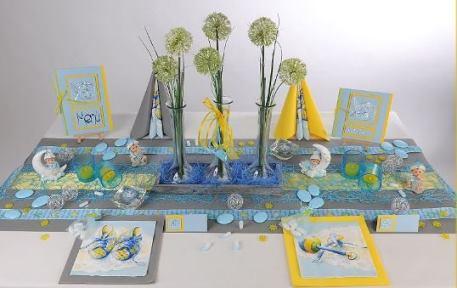 Tischdeko zur Taufe Silber/Blau