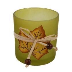 Tischdeko zum Herbst Teelichtglas Ahorn