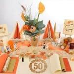 Tischdeko Goldhochzeit Orange