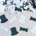 Tischdeko schwarz-weiß Silvester Konfetti