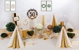 Goldene hochzeit tischdeko in gold tafeldeko - Tischdeko goldene hochzeit ...