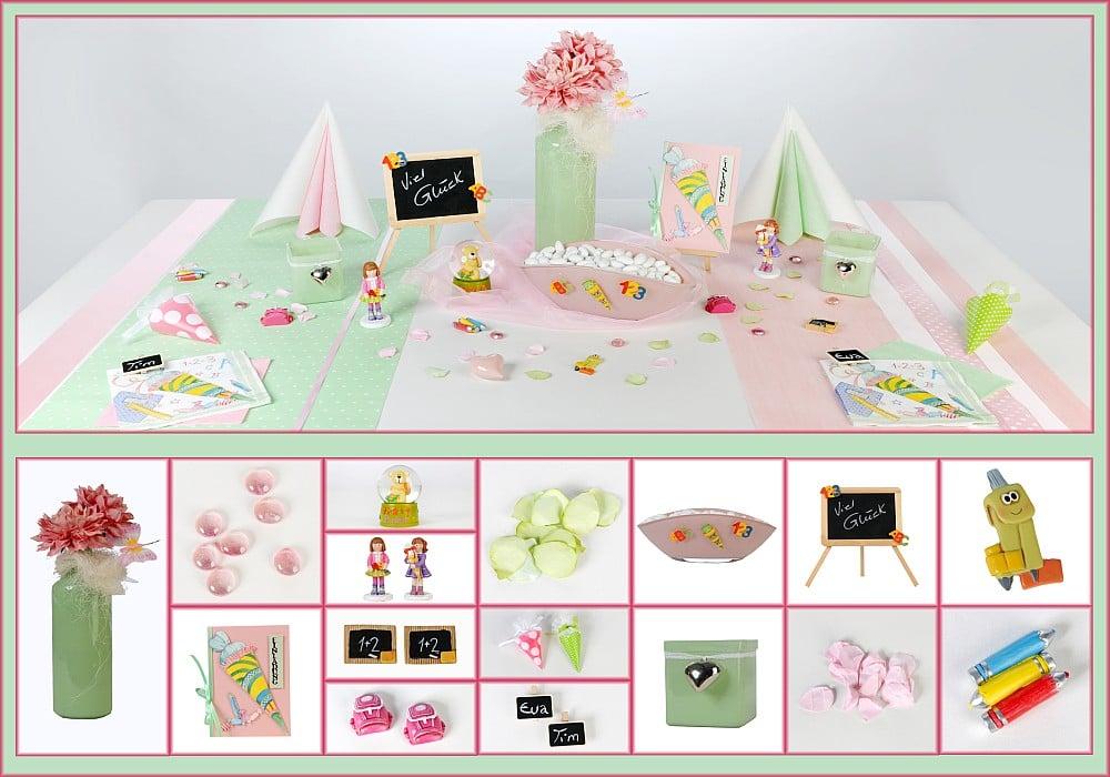 tischdeko schulanfang in hellgr n und rosa tafeldeko. Black Bedroom Furniture Sets. Home Design Ideas