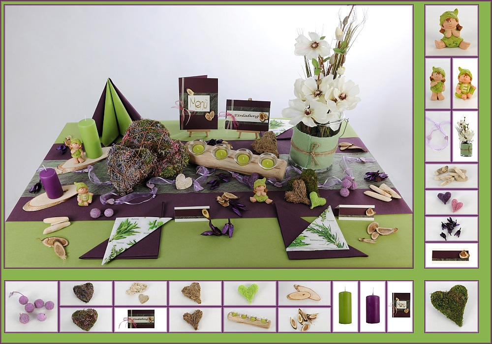 Tischdeko mit naturmaterialien tafeldeko for Lila und grun mischen