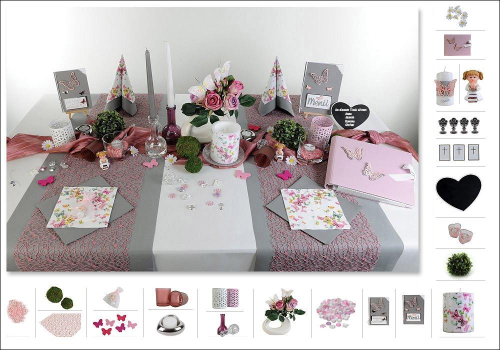 Tischdeko kommunion mit wow effekt tafeldeko - Hochzeitsdeko grau rosa ...