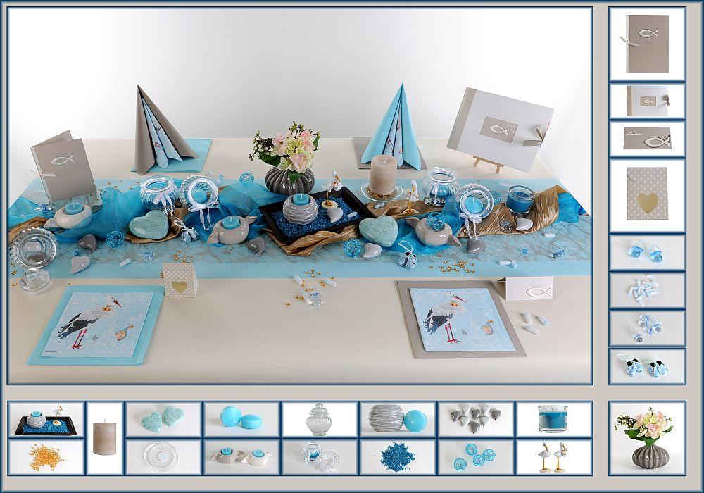 taufe tischdeko in hellblau und grau tafeldeko. Black Bedroom Furniture Sets. Home Design Ideas