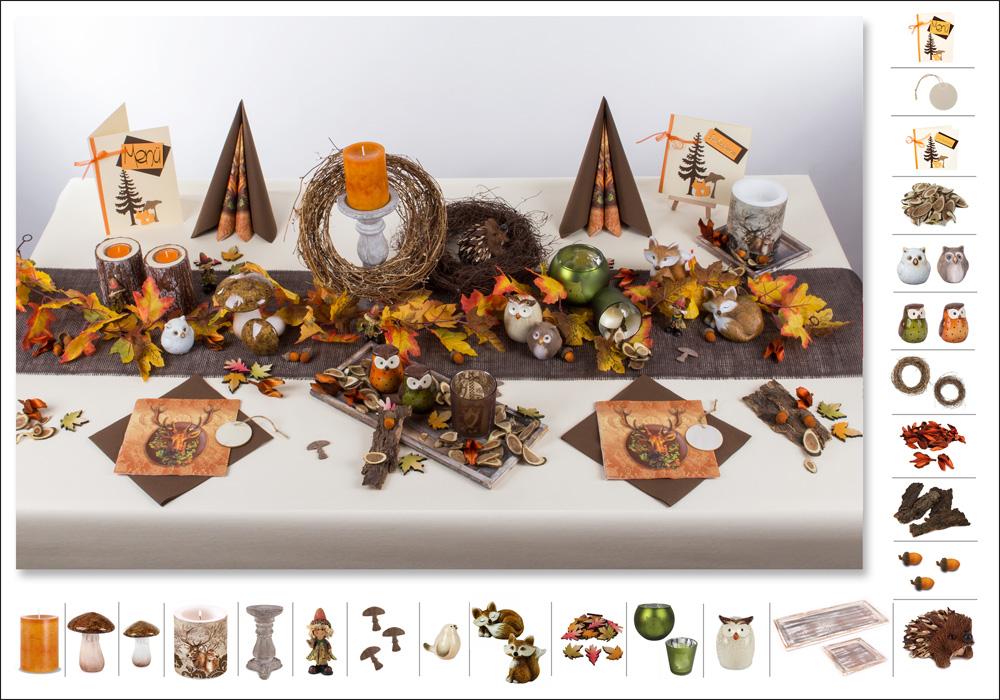 Herbstliche tischdeko thema wald tafeldeko - Herbst tischdeko natur ...