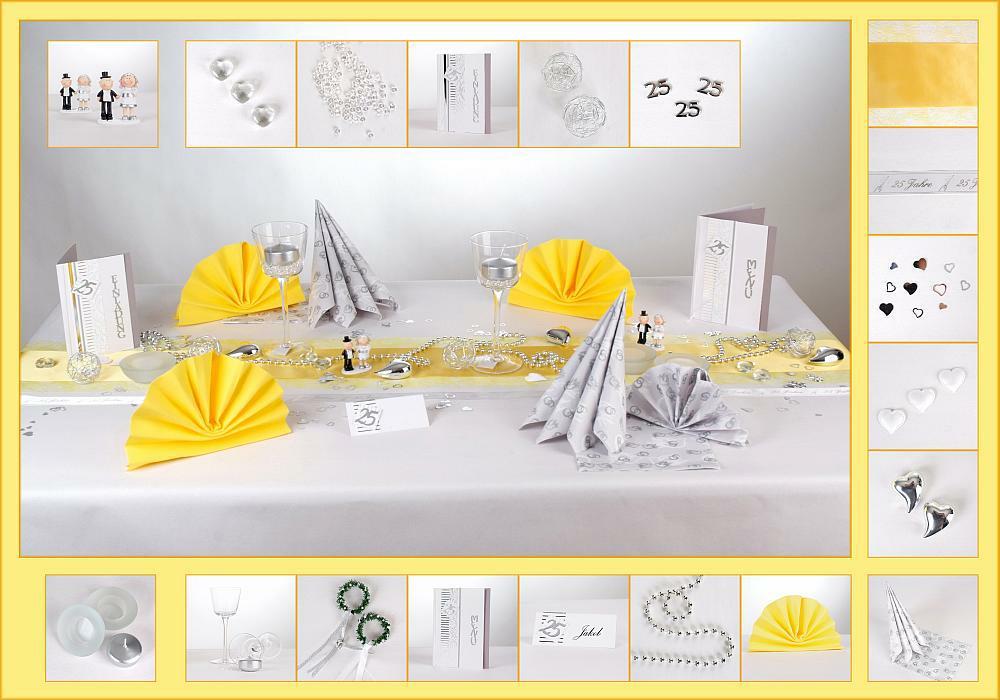 silberne hochzeit tischdeko in silber und gelb tafeldeko. Black Bedroom Furniture Sets. Home Design Ideas