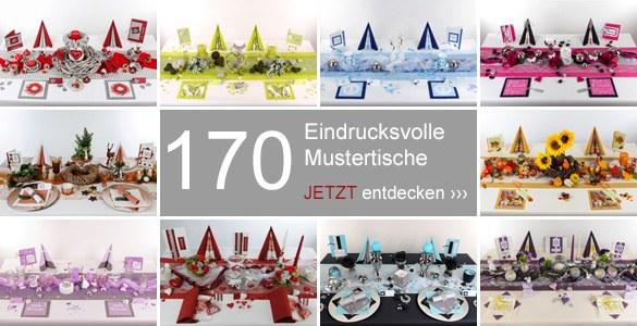 Tischdeko, Tischdekoration auf 170 Mustertischen zum Fest
